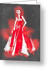 Vintage Dress Red Ball Gown - By Diana Van Greeting Card