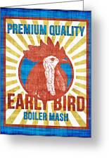 Vintage Early Bird Boiler Mash Feed Bag Greeting Card