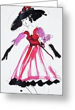 Vintage Fashion In Pink And Black Greeting Card