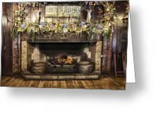 Vintage Fireplace Greeting Card