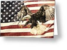 Vintage Flag With Eagle Greeting Card