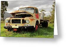 Vintage Flatbed Milk Truck Portrait Greeting Card