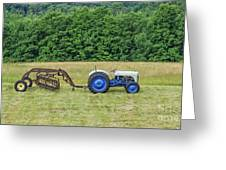 Vintage Ford Blue And White Tractor On A Farm Greeting Card