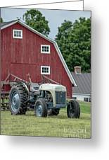 Vintage Ford Farm Tractor With Red Barn Greeting Card