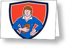 Vintage French Rugby Player Holding Ball Crest Cartoon Greeting Card