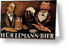 Vintage German Beer Advertisement, Friends Drinking Bier Greeting Card
