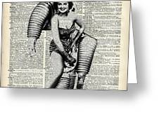 Vintage Girl In Robot Costume Greeting Card