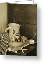 Vintage Grooming Set And Stoneware Water Pitcher In Sepia Tones Greeting Card