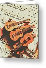 Vintage Guitars On Music Sheet Greeting Card