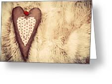 Vintage Handmade Plush Heart Pillow On The Soft Blanket Greeting Card