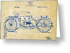 Vintage Harley-davidson Motorcycle 1919 Patent Artwork Greeting Card