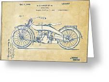 Vintage Harley-davidson Motorcycle 1924 Patent Artwork Greeting Card