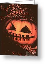 Vintage Horror Pumpkin Head Greeting Card