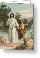 Vintage Illustration Of The Baptism Of Christ Greeting Card
