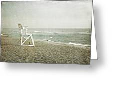 Vintage Inspired Beach With Lifeguard Chair Greeting Card