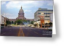 Vintage July 1968 View Looking Up Congress Avenue To The Texas State Capitol Greeting Card