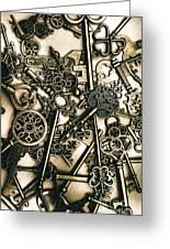 Vintage Keys On Wooden Table Greeting Card