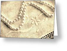Vintage Lace And Pearls Greeting Card
