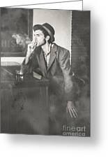 Vintage Man In Hat Smoking Cigarette In Jazz Club Greeting Card