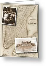 Vintage Map Ellis Island Immigrants Greeting Card