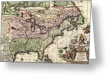 Vintage Map Of America - 1720 Greeting Card