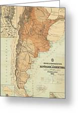 Vintage Map Of Argentina - 1882 Greeting Card