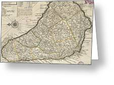 Vintage Map Of Barbados - 1736 Greeting Card