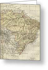 Vintage Map Of Brazil - 1889 Greeting Card