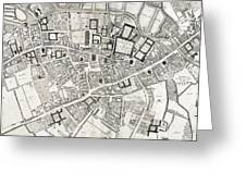 Vintage Map Of Cambridge England - 1690 Greeting Card