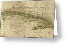 Vintage Map Of Cuba - 1639 Greeting Card