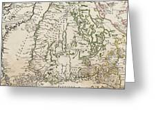 Vintage Map Of Finland - 1740s Greeting Card
