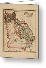 Antique Map Of Georgia Greeting Card