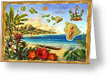 Vintage Map Of Hawaii Greeting Card