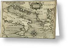 Vintage Map Of Italy And Greece - 1587 Greeting Card