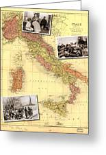 Vintage Map Of Italy Genealogy Map Greeting Card