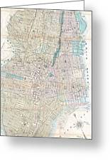 Vintage Map Of Jersey City And Hoboken  Greeting Card