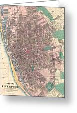 Vintage Map Of Liverpool England  Greeting Card