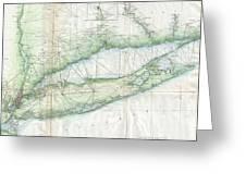 Vintage Map Of Long Island Ny Greeting Card