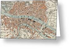 Vintage Map Of Lyon France - 1888 Greeting Card