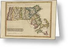 Antique Map Of Massachusetts Greeting Card