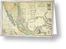 Vintage Map Of Mexico - 1847 Greeting Card