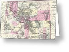 Vintage Map Of Montana, Wyoming And Idaho  Greeting Card