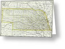 Vintage Map Of Nebraska - 1889 Greeting Card