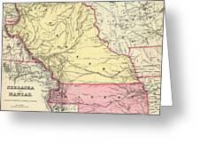Vintage Map Of Nebraska And Kansas - 1856 Greeting Card