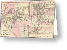 Vintage Map Of Nevada And Utah - 1880 Greeting Card