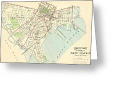 Vintage Map Of New Haven Connecticut - 1893 Greeting Card