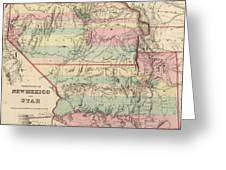Vintage Map Of New Mexico And Utah - 1857 Greeting Card