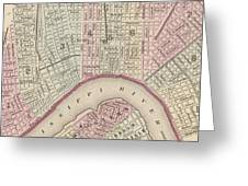 Vintage Map Of New Orleans - 1880 Greeting Card