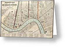 Vintage Map Of New Orleans Louisiana - 1845 Greeting Card