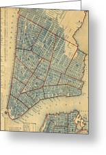 Vintage Map Of New York City - 1846 Greeting Card